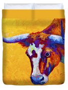Texas Longhorn Cow Study Duvet Cover