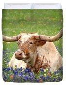Texas Longhorn In Bluebonnets Duvet Cover
