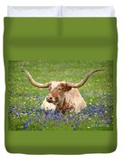 Texas Longhorn In Bluebonnets Duvet Cover by Jon Holiday