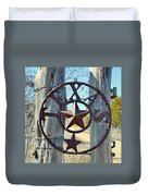 Texas Star Rustic Iron Sign Duvet Cover