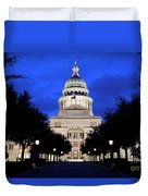 Texas State Capitol Floodlit At Night, Austin, Texas - Stock Image Duvet Cover