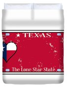 Texas State License Plate With Damage Duvet Cover