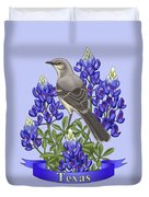 Texas State Mockingbird And Bluebonnet Flower Duvet Cover by Crista Forest