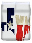 Texas Typography Map Flag Duvet Cover
