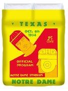 Texas Vs Notre Dame 1934 Program Duvet Cover