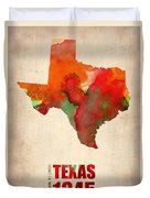 Texas Watercolor Map Duvet Cover