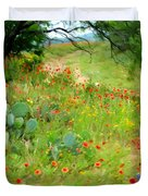 Texas Wildflowers And Cactus - Country Road Duvet Cover
