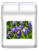 Textured Bearded Irises Duvet Cover