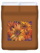 Textured Gold And Red Sunflowers Duvet Cover
