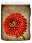 Textured Red Daisy Duvet Cover