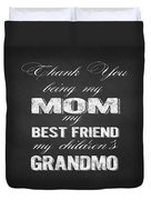 Thank You Mom Chalkboard Typography Duvet Cover