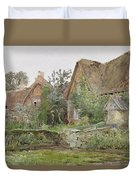Thatched Cottages And Cottage Gardens Duvet Cover by John Fulleylove