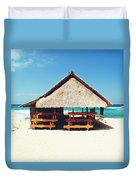 Thatched Roof Cottage/shack On A Perfect White Sand Tropical Beach Bali, Indonesia Duvet Cover