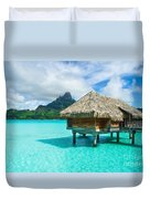 Thatched Roof Honeymoon Bungalow On Bora Bora Duvet Cover