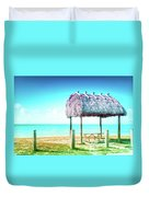 Thatched Roof Hut On Beach Duvet Cover