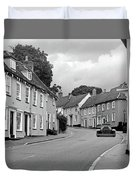 Thaxted Cottages In Black And White Duvet Cover