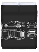 The 911 Turbo Blueprint Duvet Cover