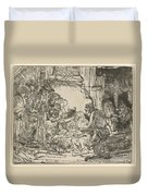 The Adoration Of The Shepherds: With The Lamp Duvet Cover
