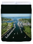 The Aerial View To The Mamaroneck Marina, Westchester County Duvet Cover