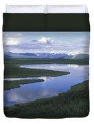 The Alaska Range Reflecting In A Lake Duvet Cover