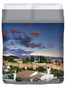 The Alhambra Palace And Albaicin At Sunset Duvet Cover