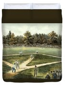 The American National Game Of Baseball Grand Match At Elysian Fields Duvet Cover by Currier and Ives