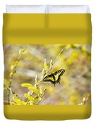 the Anise Swallowtail  feeding in the trees Duvet Cover