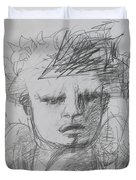 The Archangel Michael By Alice Iordache Original Drawing Duvet Cover