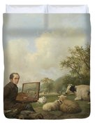 The Artist Painting A Cow In A Meadow, 1850 Duvet Cover