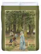 The Artist's Wife And Daughters In A Park At Heringsdorf Duvet Cover