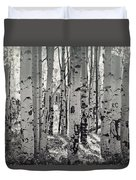 The Aspen Forest In Black And White  Duvet Cover