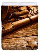 The Badge - Sepia Duvet Cover