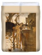 The Balcony, Spain Two Nude Bathers Standing On A Wharf Duvet Cover