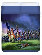 The Battle Of Saratoga, Showing A General Attack Led By Brigadier Arnold Duvet Cover