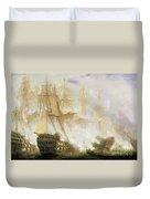 The Battle Of Trafalgar Duvet Cover by John Christian Schetky