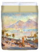 The Bay Of Naples With Vesuvius In The Background Duvet Cover