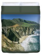 The Beach And Shoreline Along Highway 1 Duvet Cover