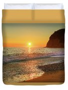 the beach and the Mediterranean sea in Montenegro in the summer at sunset Duvet Cover