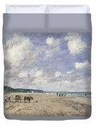 The Beach At Tourgeville Duvet Cover by Eugene Louis Boudin