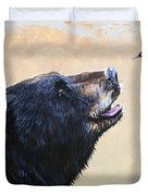 The Bear And The Hummingbird Duvet Cover