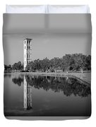 The Bell Tower Reflections B W Furman University Greenville South Carolina Art Duvet Cover