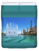 The Bellagio Fountains In Front Of The Eiffel Tower 2 To 1 Ratio Duvet Cover