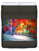 The Bench At First Snow Duvet Cover