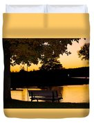 The Bench By The Lake Duvet Cover by Danielle Allard