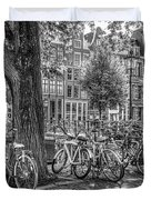 The Bicycles Of Amsterdam In Black And White Duvet Cover