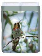 The Bird In The Foil Mask -- Anna's Hummingbird In Templeton, California Duvet Cover