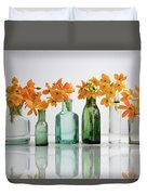 the Blooming yellow Ornithogalum Dubium in a transparent bottle instead vase Duvet Cover
