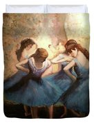 The Blue Ballerinas - A Edgar Degas Artwork Adaptation Duvet Cover by Rosario Piazza