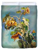 The Blue Jay Who Came To Breakfast Duvet Cover