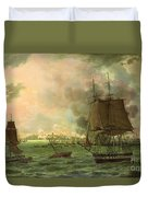 The Bombing Of Cadiz By The French  Duvet Cover by Louis Philippe Crepin
